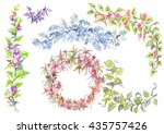 branches with green leaves... | Shutterstock . vector #435757426