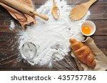baking ingredients with flour... | Shutterstock . vector #435757786