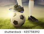 close up of foot of football... | Shutterstock . vector #435758392