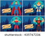 vector set of cards with... | Shutterstock .eps vector #435767236