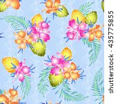 tropical orchid pattern | Shutterstock .eps vector #435775855