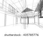 sketch design of interior space ... | Shutterstock . vector #435785776