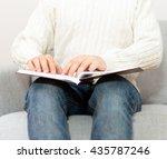 blind man reading braille book...   Shutterstock . vector #435787246