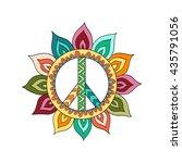 hippie vintage peace symbol in... | Shutterstock .eps vector #435791056