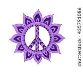 hippie vintage peace symbol in... | Shutterstock .eps vector #435791086