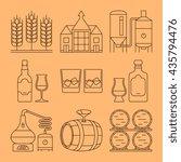 whisky line vector icons set.... | Shutterstock .eps vector #435794476