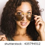 portrait of happy funny teenage ... | Shutterstock . vector #435794512