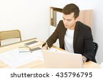 businessman writing while using ... | Shutterstock . vector #435796795