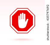 no entry hand sign icon  vector ... | Shutterstock .eps vector #435797692