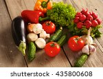 fresh vegetables on a clean... | Shutterstock . vector #435800608