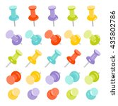 realistic set of push pins in... | Shutterstock .eps vector #435802786