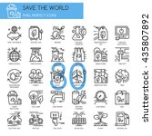 save the world   thin line and... | Shutterstock .eps vector #435807892