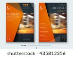 Brochure template layout design. Corporate business annual report, catalog, magazine mockup. Layout with modern orange elements and urban style photo. Creative poster, booklet, flyer or banner concept | Shutterstock vector #435812356