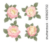 set of roses with leaves. it... | Shutterstock . vector #435820732