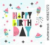 happy birthday vector card | Shutterstock .eps vector #435827272