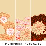 a set of asian style floral... | Shutterstock .eps vector #435831766