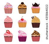 delicious cupcakes icon set | Shutterstock .eps vector #435864022