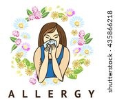 allergies. hay fever on white... | Shutterstock .eps vector #435866218