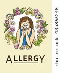 allergies. hay fever. template | Shutterstock .eps vector #435866248