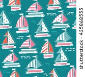 cute sail boat pattern.... | Shutterstock .eps vector #435868555