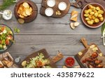different food cooked on the... | Shutterstock . vector #435879622