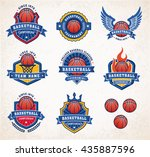 collection of eight colorful... | Shutterstock .eps vector #435887596