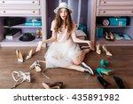 young pensive beautiful girl... | Shutterstock . vector #435891982