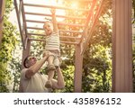 father and son exercising... | Shutterstock . vector #435896152