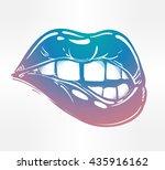 sexy fatal biting lips. pop art ...   Shutterstock .eps vector #435916162