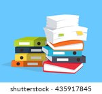 stack of papers on blue... | Shutterstock .eps vector #435917845