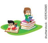 kids reading book | Shutterstock . vector #435924085