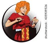 people in retro style pop art... | Shutterstock .eps vector #435939526