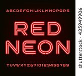 red neon tube alphabet font.... | Shutterstock .eps vector #435949906
