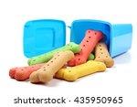 Stock photo rubbish bin and dog biscuits 435950965