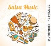 salsa musical card. invitation... | Shutterstock .eps vector #435952132