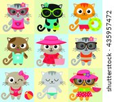 seamless pattern with cute... | Shutterstock .eps vector #435957472