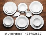 set of white dishes on wooden... | Shutterstock . vector #435963682