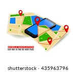 mobile gps navigation map and... | Shutterstock .eps vector #435963796