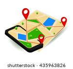 mobile gps navigation map and... | Shutterstock .eps vector #435963826
