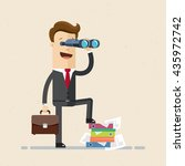 happy businessman or manager is ... | Shutterstock .eps vector #435972742