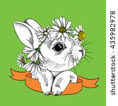 small rabbit in a chamomile... | Shutterstock .eps vector #435982978