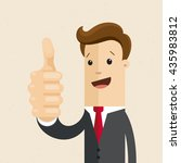 man in suit shows a sign thumb... | Shutterstock .eps vector #435983812