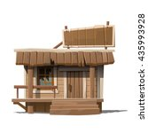 a small wooden house in the... | Shutterstock .eps vector #435993928