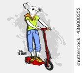 vector white rabbit girl on a... | Shutterstock .eps vector #436000252
