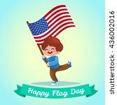 little boy holding american... | Shutterstock .eps vector #436002016