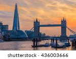 london skyline at sunset with... | Shutterstock . vector #436003666