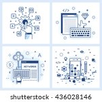 set of vector illustrations in... | Shutterstock .eps vector #436028146