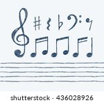 set of hand drawn vector music... | Shutterstock .eps vector #436028926
