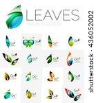 leaf logo set. collection of... | Shutterstock . vector #436052002