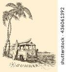 Surf Van On The Beach Vector...
